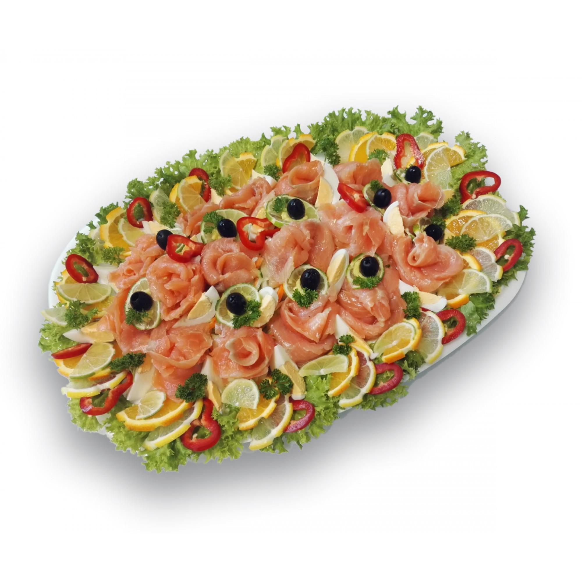 Füstölt lazacrózsák friss salátaágyon  (5 FŐS TÁL ÁRA 11.430 FT)